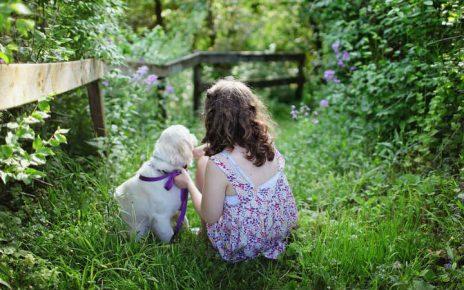 niña con su perrito mascota